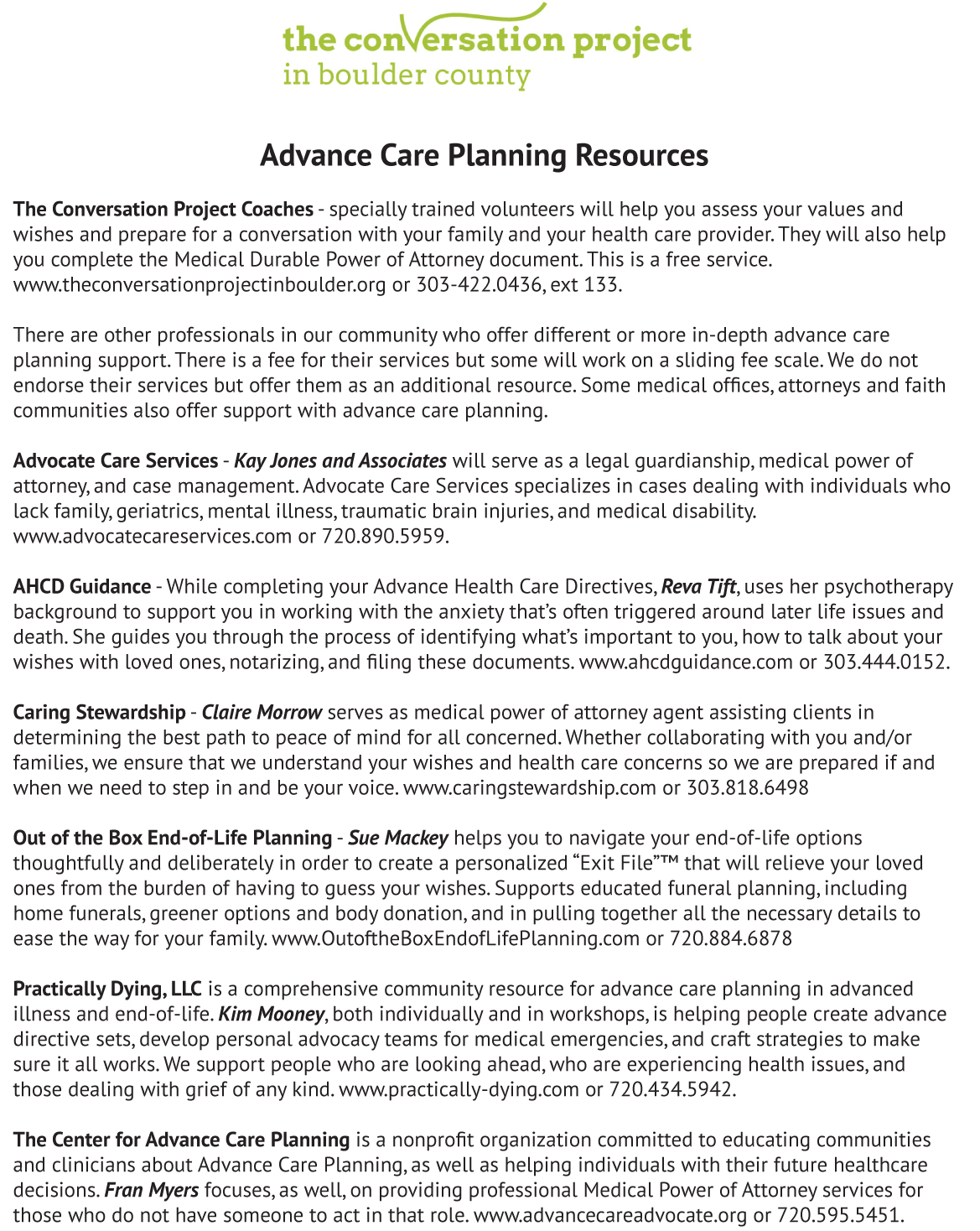 Advance Care Planning Resources The Conversation Project In